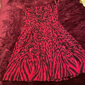 Strapless Red Cheetah Print Dress